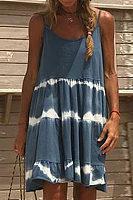 Spaghetti Straps Sleeveless Dyed Casual Dresses