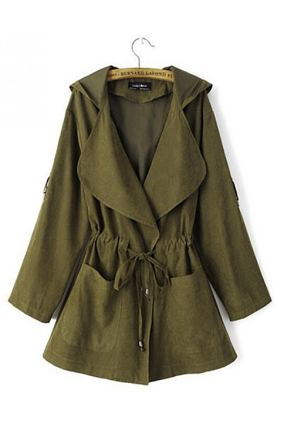 Fold Over Collar  Drawstring  Plain Trench Coat
