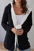 Hooded  Plain  Teddy Outerwear