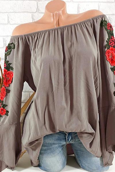 Shoulder Collal Floral Embroidered Bell Sleeve Blouse