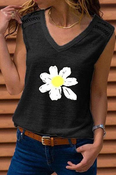 V Neck Daisy Print  Sleeveless T-shirt