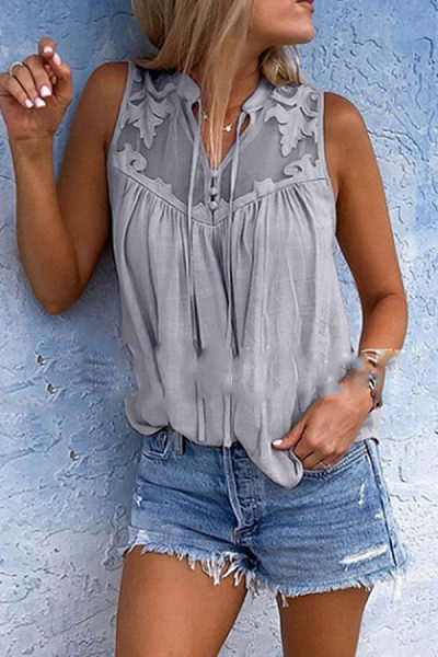 V Neck Lace Up Patchwork Sleeveless Casual Camis