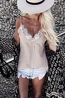 V Neck  Decorative Lace  Color Block Camis