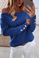 Open Shoulder Plain Casual Sweatshirt