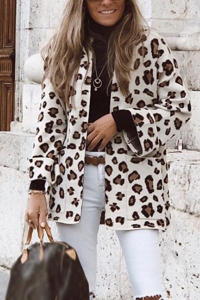 Women Leopard Casual Outerwear