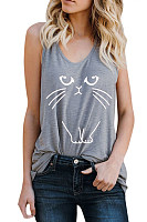 Print Cute Cat Simple Vest