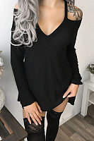 Open Shoulder Plain Long Sleeve T-Shirt