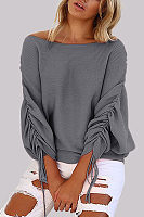 One Shoulder  Bowknot  Plain  Batwing Sleeve Sweaters