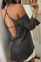 Halter  Asymmetric Hem Backless  Plain T-Shirts
