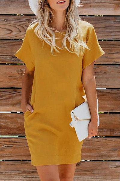 Round Neck Short Sleeve Pockets Plain Casual Dress