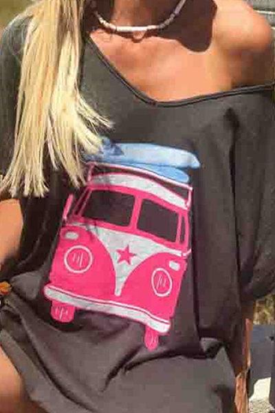 Fashion Lady Bus Printed Short Sleeve T-Shirts