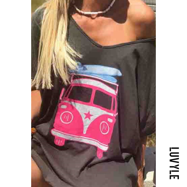 Gray Off The Shoulder Tops Bus Printed Short Sleeve T-Shirts Gray Off The Shoulder Tops Bus Printed Short Sleeve T-Shirts