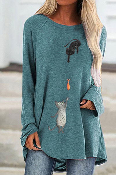 Casual round collar long sleeved printed T-shirt