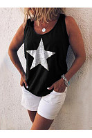 Scoop Neck Star Printed Sleeveless Casual Camis