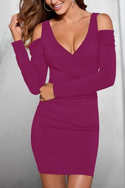 Surplice  Backless  Plain Bodycon Dresses