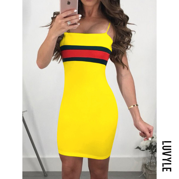 Yellow Spaghetti Strap Plain Bodycon Dress Yellow Spaghetti Strap Plain Bodycon Dress