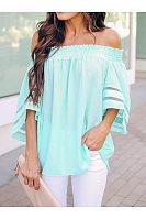 Fashion Word Shoulder Solid Color T-Shirt