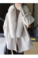 Oversized Faux Fur Collar Plain Woolen Coat