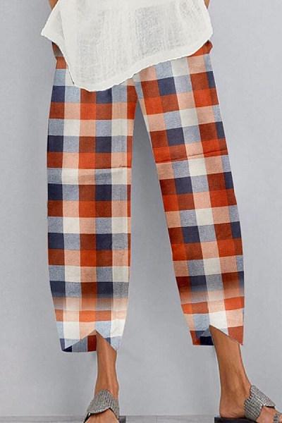 Coloring Plaid Casual Pants
