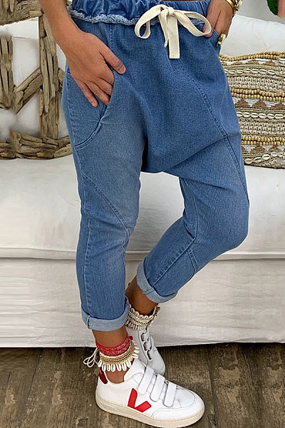 Women's Casual Pure Color Elastic Waist Tight Jeans