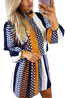 High Neck  Printed Striped  Long Sleeve Casual Dresses