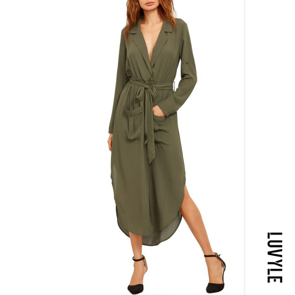 Army Green Fold Over Collar Asymmetric Hem Belt Plain Maxi Dresses Army Green Fold Over Collar Asymmetric Hem Belt Plain Maxi Dresses