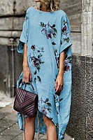 Sweet Round Neck Casual Printed Dress