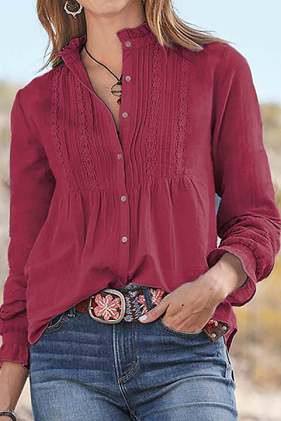 Round Neck Single Breasted Blouse