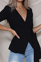 V Neck  Plain  Bell Sleeve Blazers