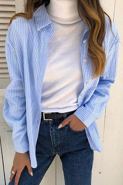 A Lapel Striped Casual Blouse