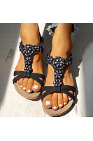 Women's bohemian flower flat sandals