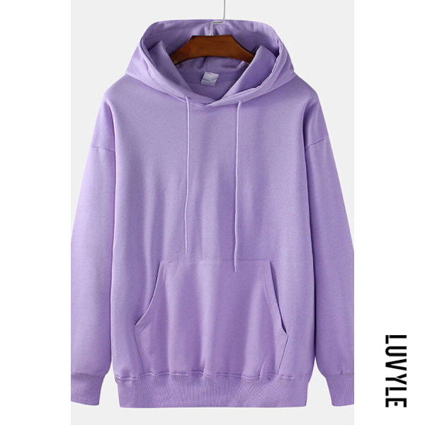 Purple Knit Solid Color Loose Drawstring Hoodie Purple Knit Solid Color Loose Drawstring Hoodie