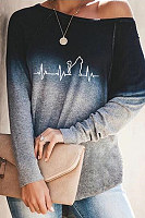 Casual Long-sleeved Gradient Printed T-shirt
