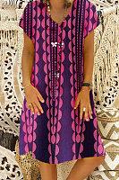 Round Neck  Print  Casual Dresses