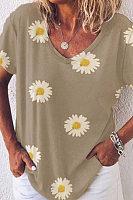 Loose V-neck Casual Printed Short-sleeved T-shirt