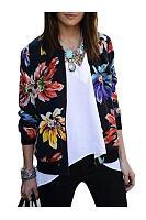Floral Printed Zips Dramatic Band Collar Jackets