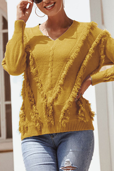 V Neck Tassel Plain Sweater