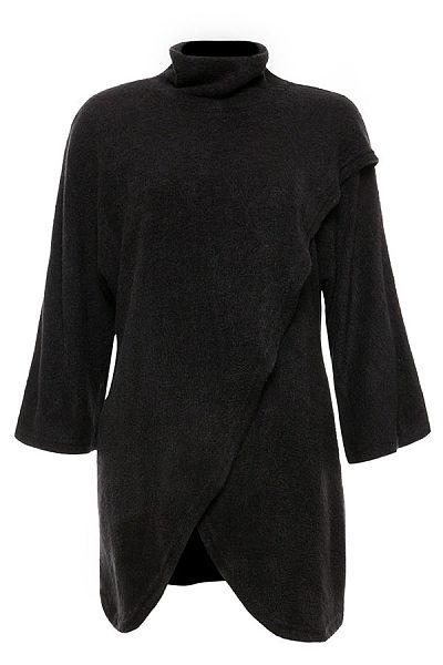 High Neck  Asymmetric Hem  Plain Knitwear