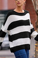 Round Neck Loose-Fitting Striped Sweater