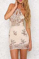 Beige Halter Backless Sheath Sleeveless Bodycon Dresses