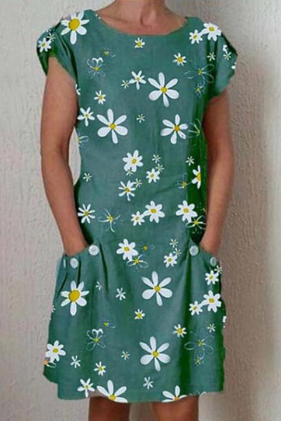 Round Neck Short Sleeve Daisy Printed Casual Dress
