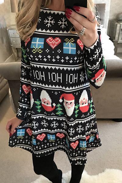 Christmas Printed Round Neck Casual Dress