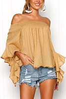 Off Shoulder  Backless  Abstract Print  Blouses