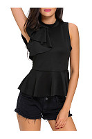 Band Collar Peplum Plain Flounce Sleeveless Blouse