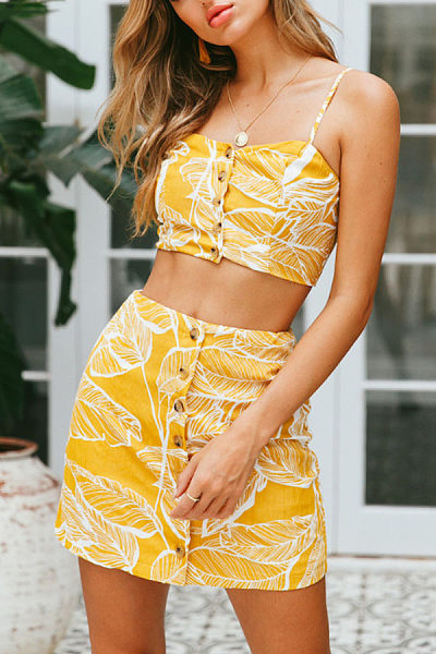 Spaghetti Strap  Single Breasted  Exposed Navel  Printed Two-Piece Outfits