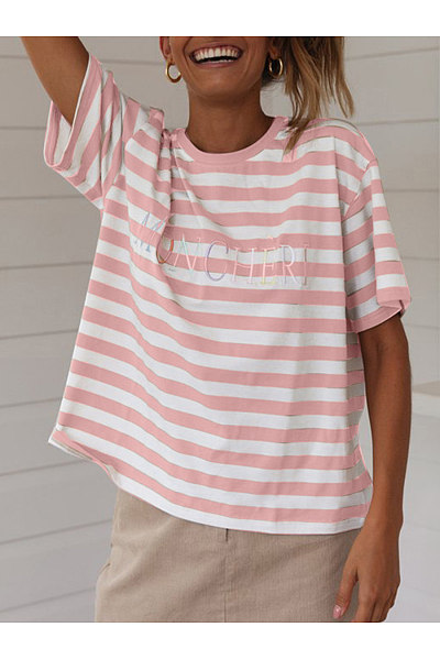 Round Neck Short Sleeve Stripes Letters T-Shirts