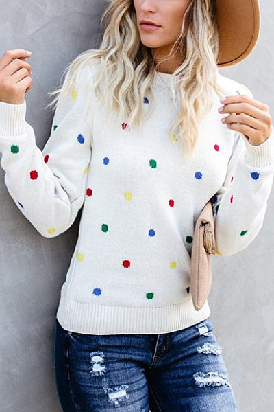 Round Neck Polka Dot Long Sleeve Sweater