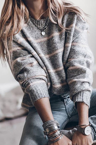 Casual Round Neck Striped Sweater