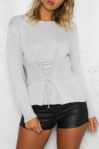Round Neck  Lace Up  Patchwork Sweaters