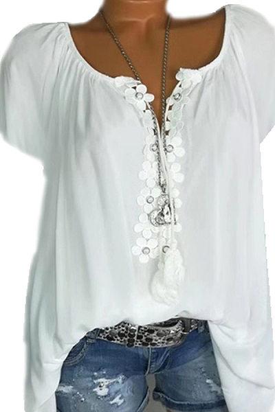 Tie Collar  Patchwork  Plain Blouses